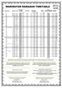 WIA Ramadan Timetable 2014